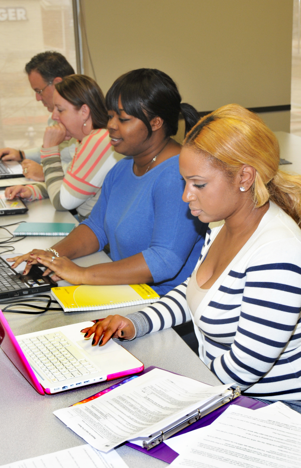 Paralegal students hard at work.  Paralegal day classes.