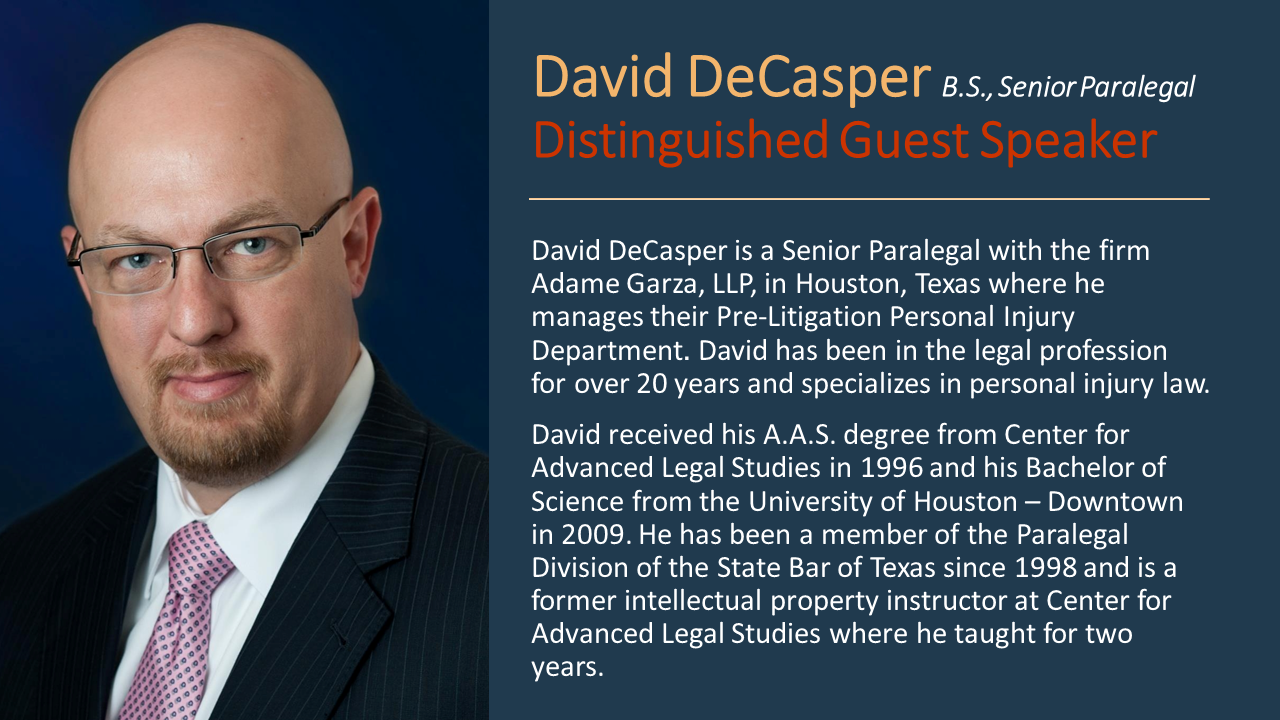 David DeCasper, Senior Paralegal