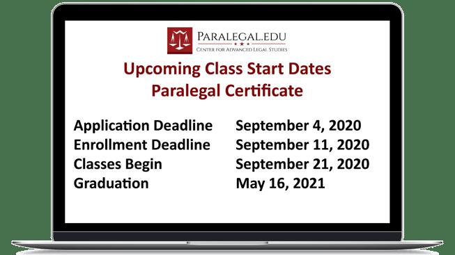 September 2020 paralegal class start deadlines